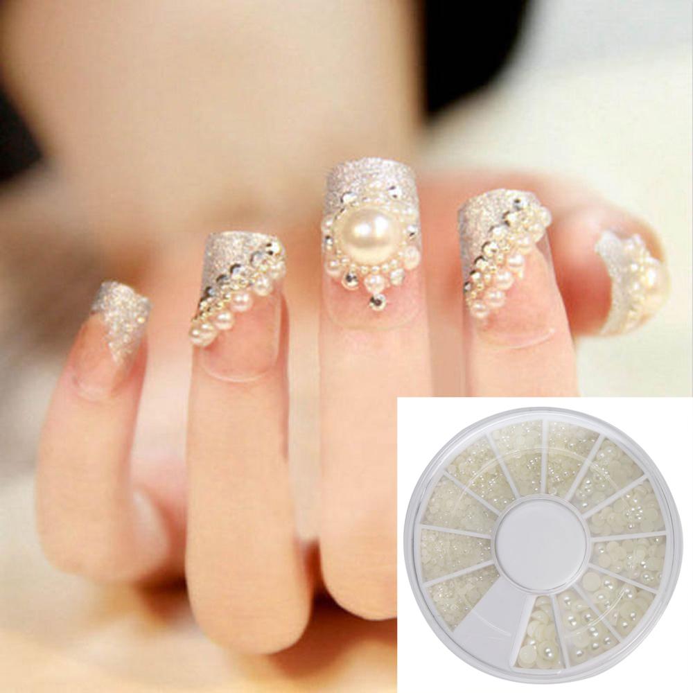 3d white pearl beads nail art tips acrylic gem glitter for 3d acrylic nail art decoration