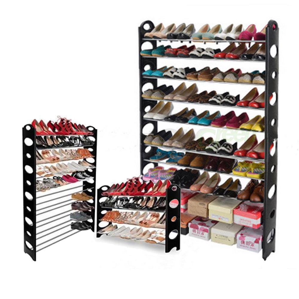 6 10 tier pairs space saving storage organizer free standing shoe tower rack ebay - Shoe racks for small spaces collection ...