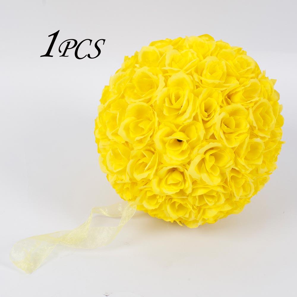 Hot 984 Flower Ball Wedding Decor Kissing Bridal Supplies Yellow