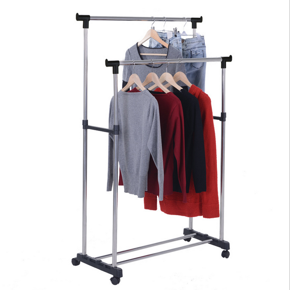New Portable Double Rolling Rail Adjustable Clothes
