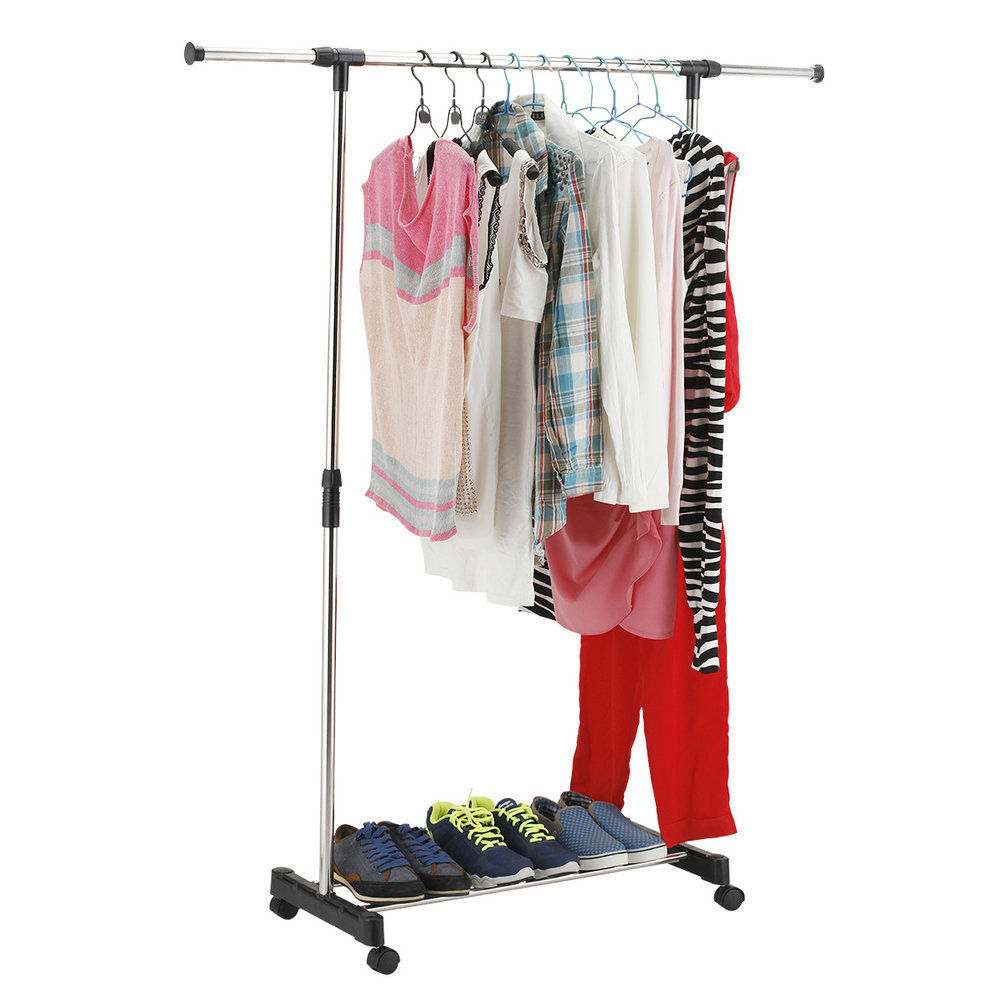 New Portable Rolling Clothes Rack Hanging Garment Bar