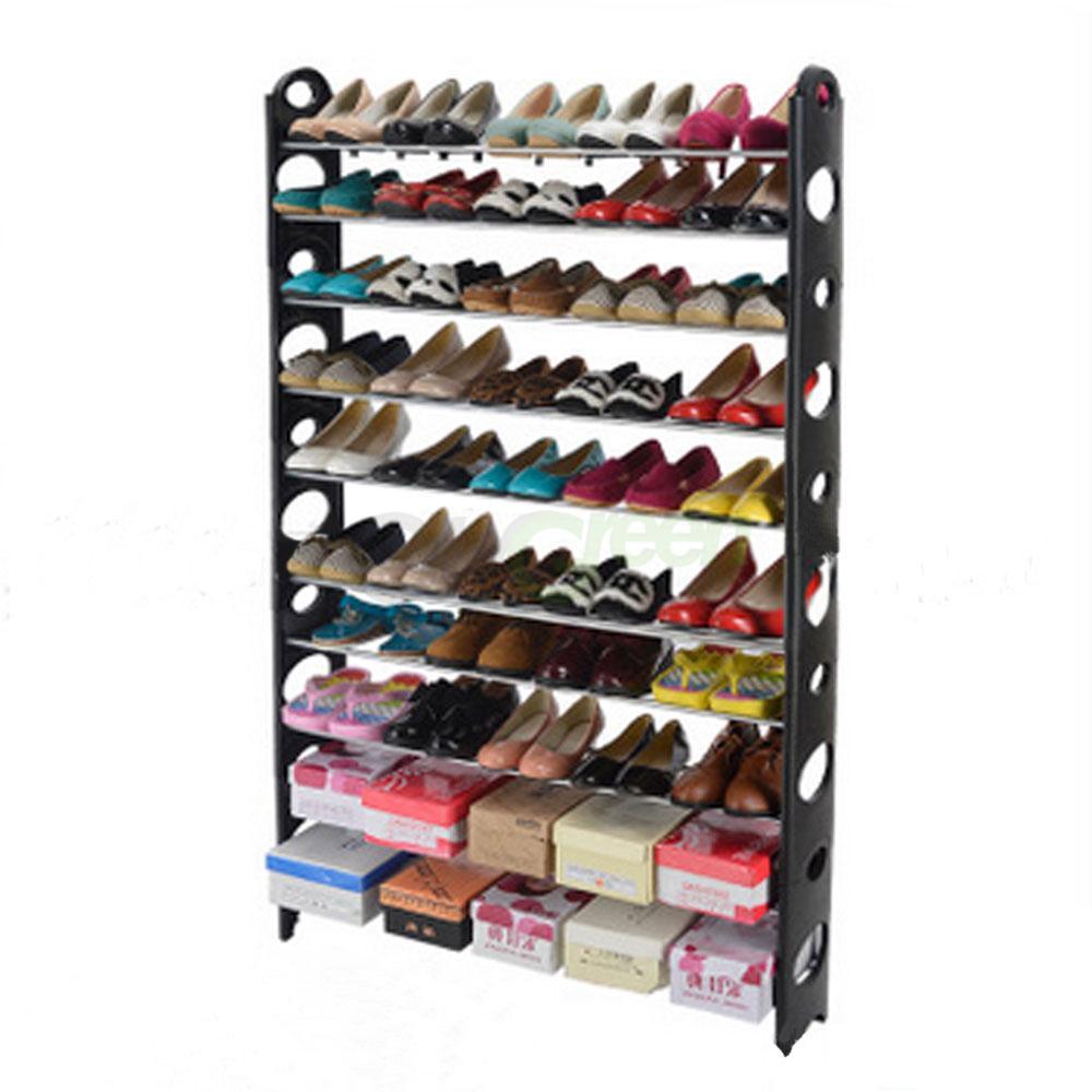 10 tier shoe rack 50 pair wall bench shelf closet organizer storage box stand ebay - Shoe box storage shelves ...
