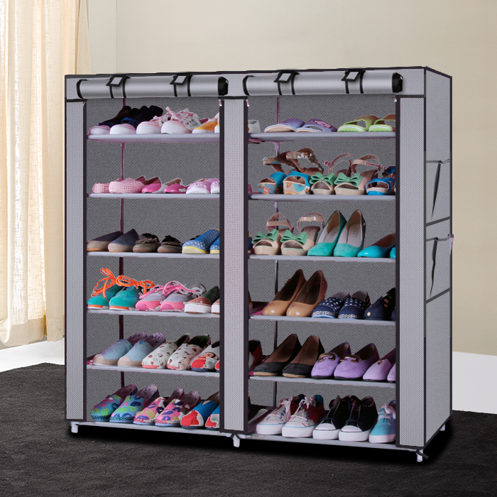 New Non Woven Fabric Folding Underwear Storage Box Bedroom: 6 Layer 12 Grid With Cover Home Shoe Rack Shelf Storage