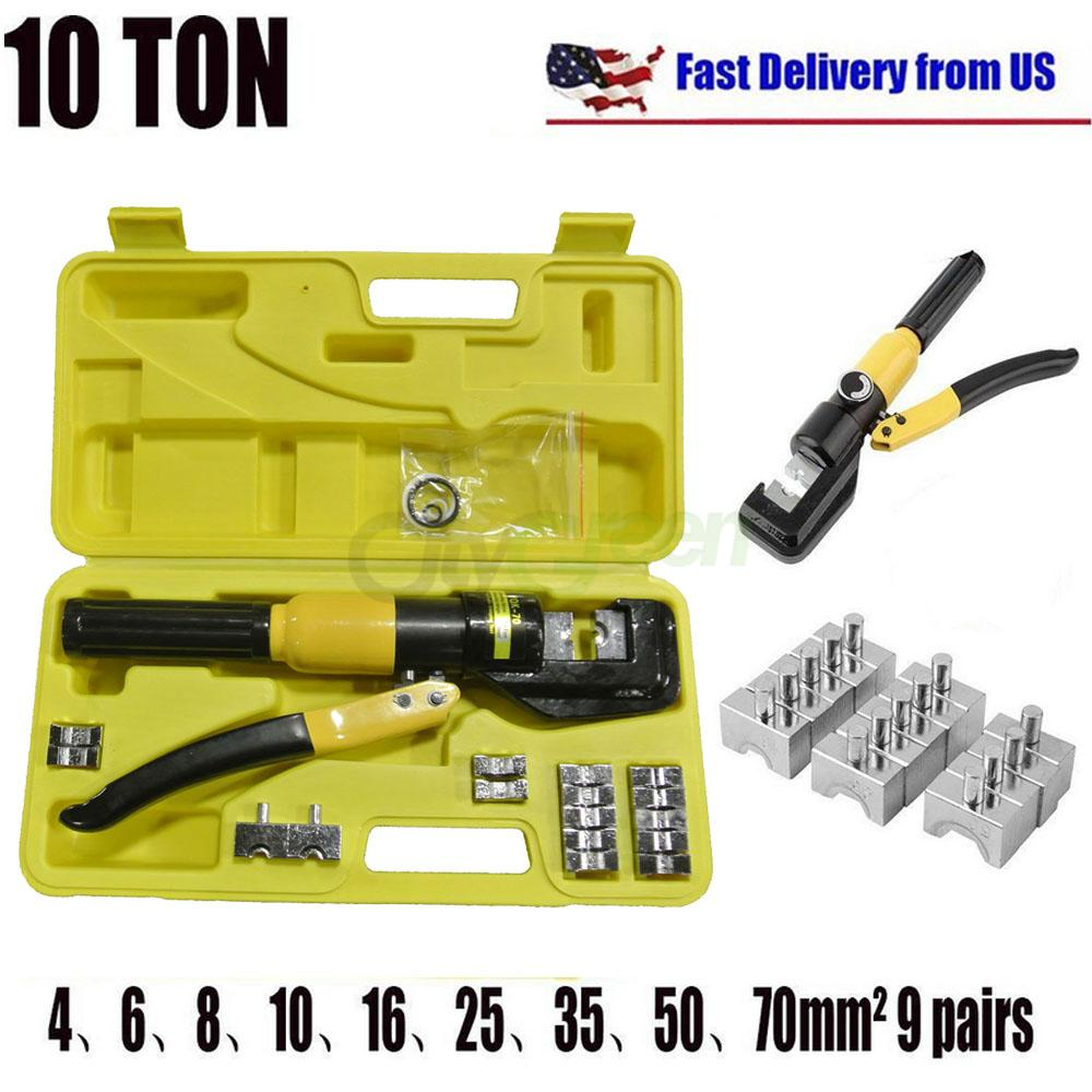 10 Ton Hydraulic Wire Battery Cable Lug Terminal Crimper