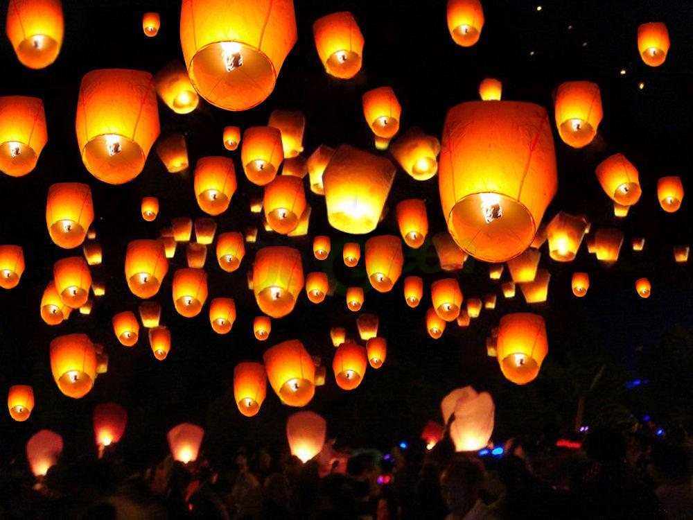 50 White Paper Chinese Lanterns Sky Fire Fly Candle Lamp Wish