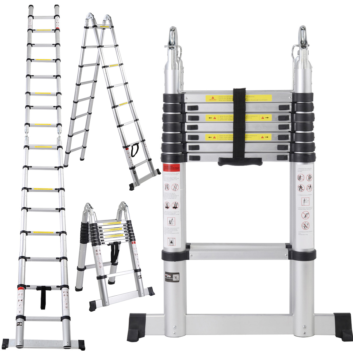 Aluminum Telescopic Ladder : En ft aluminum telescoping telescopic extension