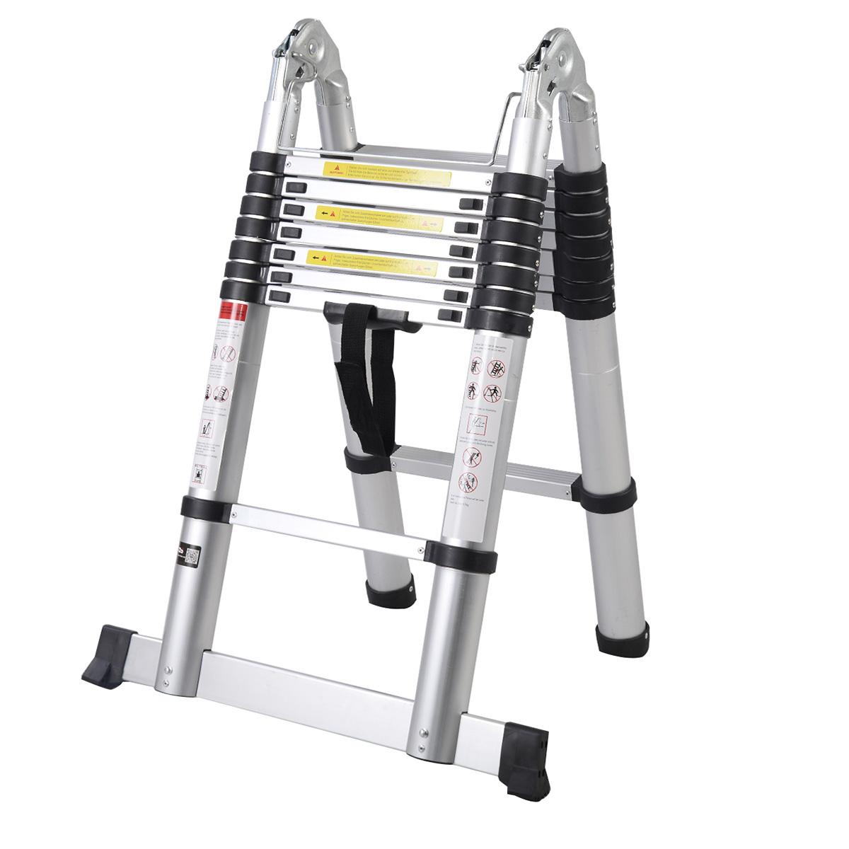 Telescoping Aluminum Extension Ladder : En ft aluminum telescoping telescopic extension