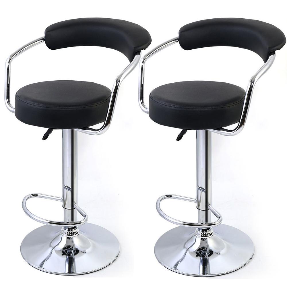 Black Modern Adjustable Counter Swivel Pub Style Bar