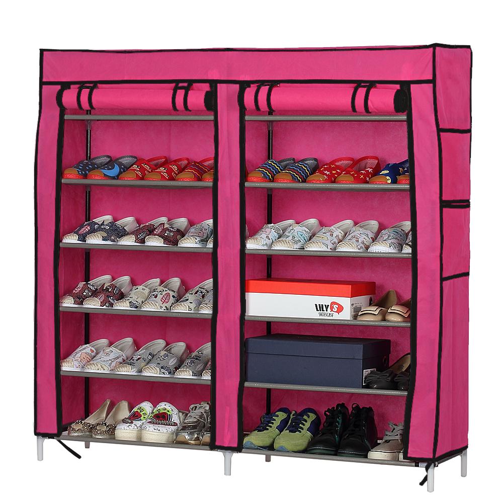 6 Layers Double Row Portable Shoe Rack Shelf Storage Closet Organizer  Cabinet