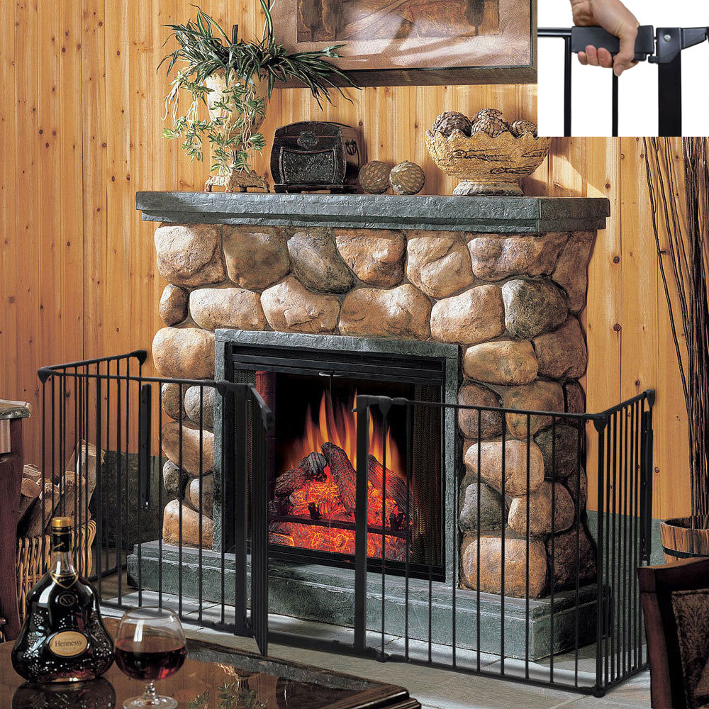 Fireplace Fence Baby Safety Fence Hearth Gate Pet Dog Cat Steel ...