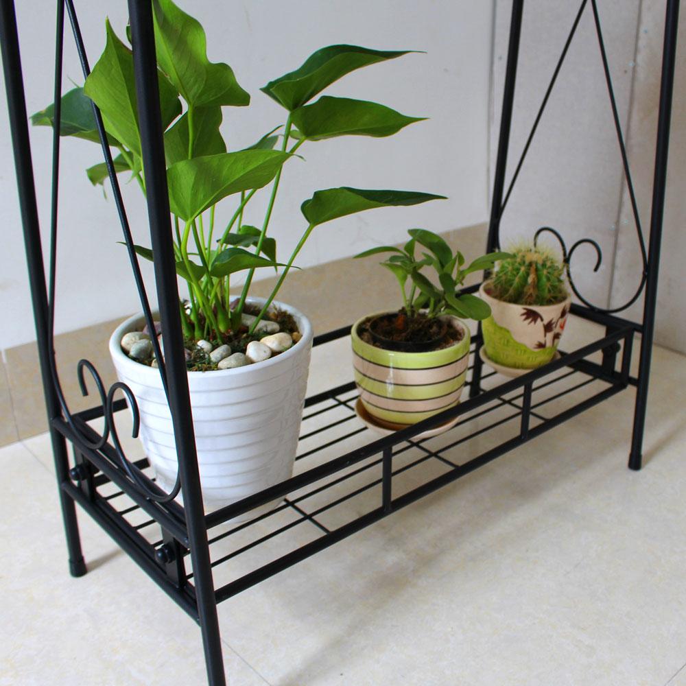 Two Tier Metal Plant Stand Garden Planter Holder Flower