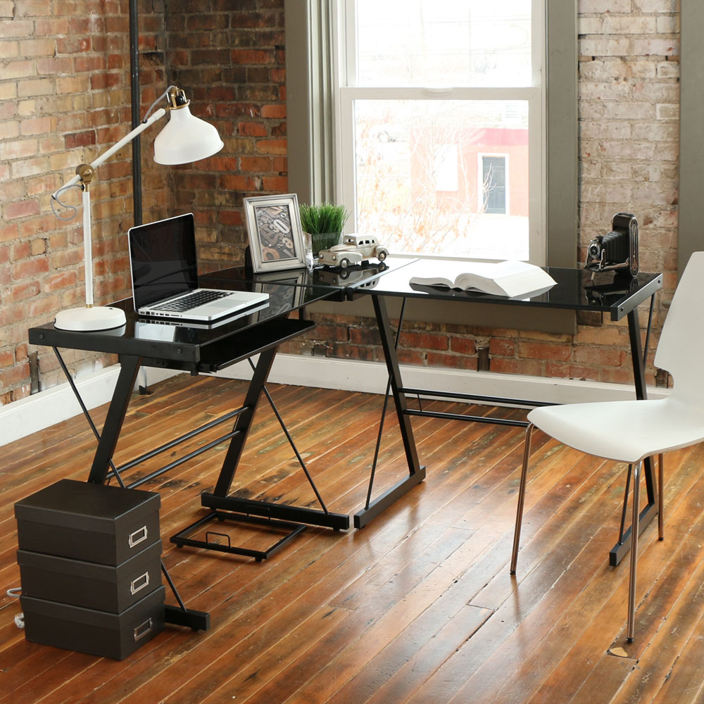 Buy shape home office Modernluxe New Computer Desk Pc Glass Laptop Table Workstation Corner Home Office L Shape Lelong New Computer Desk Pc Glass Laptop Table Workstation Corner Home