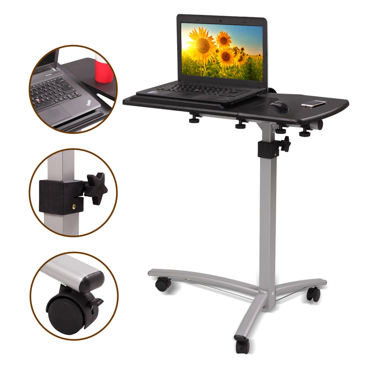 Adjustable Height Stand Desk Computer Workstation Lift Rising Laptop