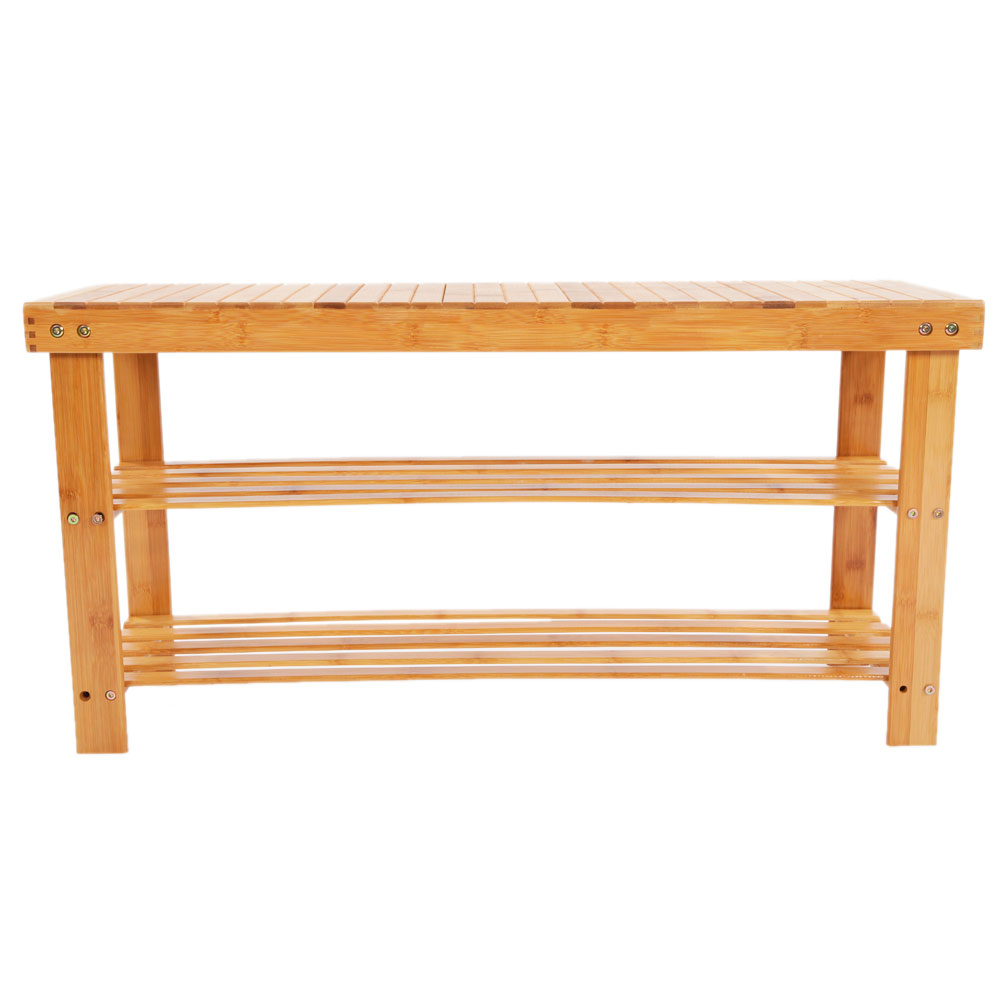 New 2 Layer Bamboo Shoe Bench Storage Racks Seat Organizer Entryway Hallway Ebay