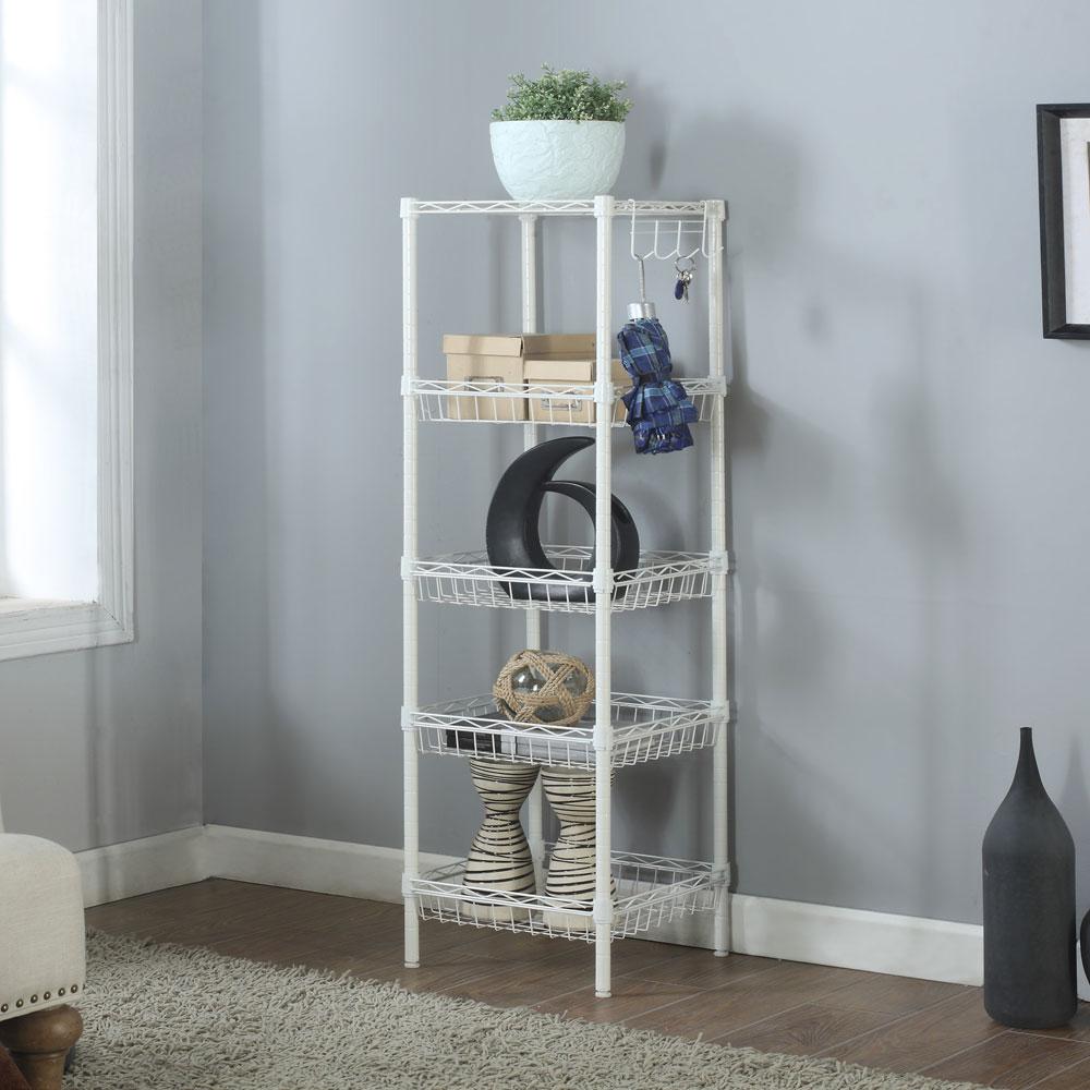 Storage rack 5 tier organizer kitchen corner shelving steel wire shelves new