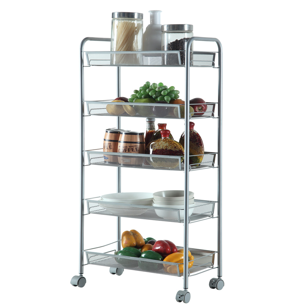 Kitchen Shelf Metal: 3/4/5-Tier Organizer Metal Rolling Storage Shelving Rack