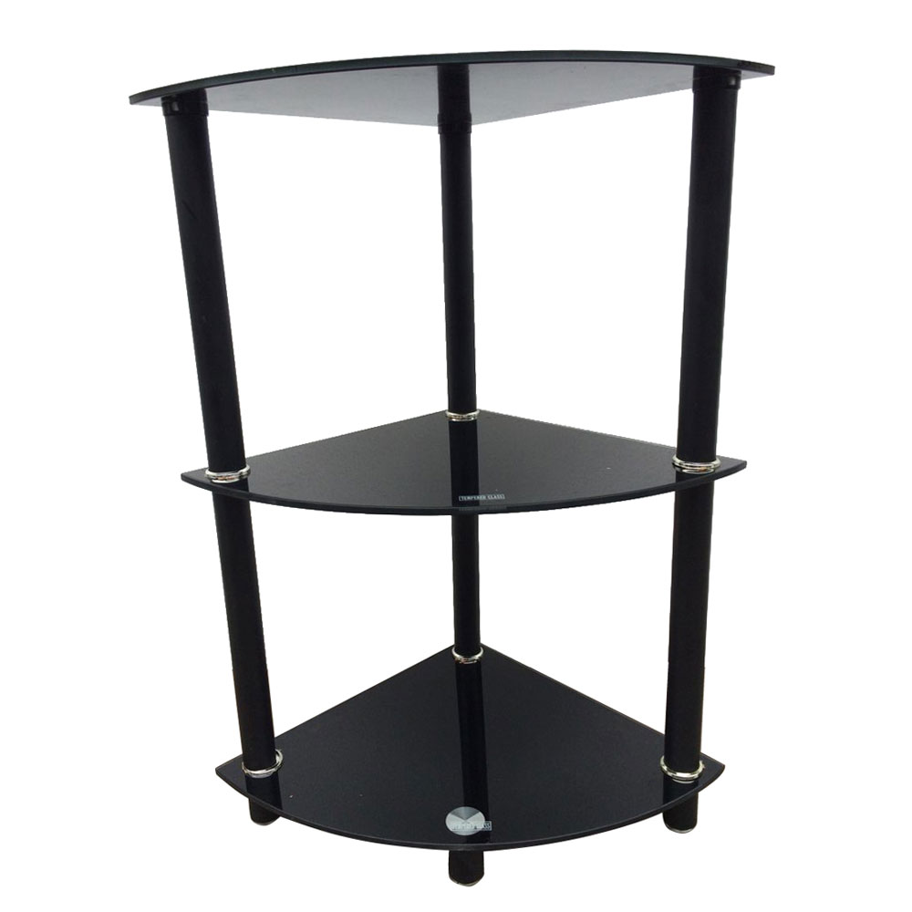 Corner Exhibition Stands Tallahassee : Tier glass side end table stand home display shelf