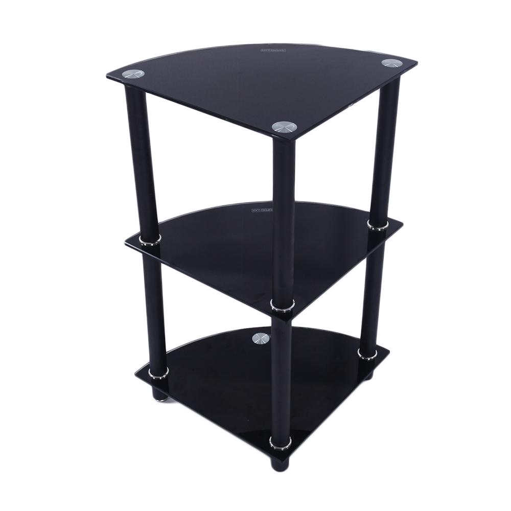 3 tier Glass Side End Table Stand Home Display Shelf Corner