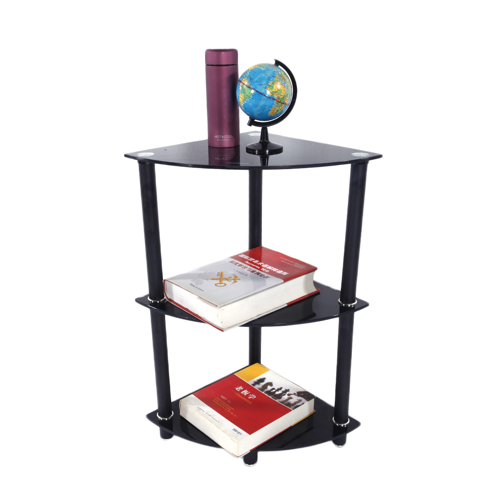 3 Tier Glass Side End Table Stand Home Display Shelf Corner Bookcase Black  Furni