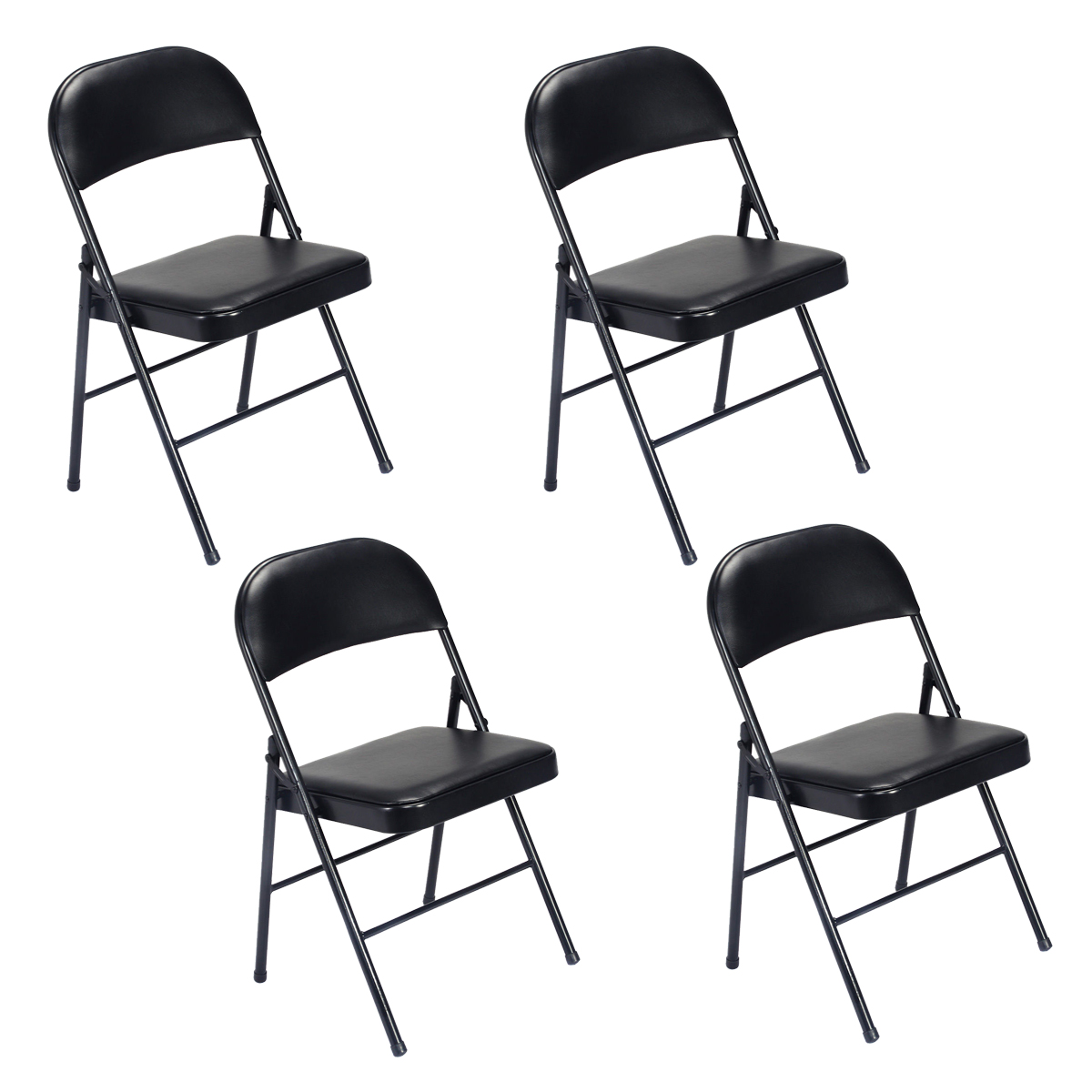 Fantastic Details About Set Of 4 6 Folding Chairs Fabric Upholstered Padded Seat Metal Frame Theyellowbook Wood Chair Design Ideas Theyellowbookinfo