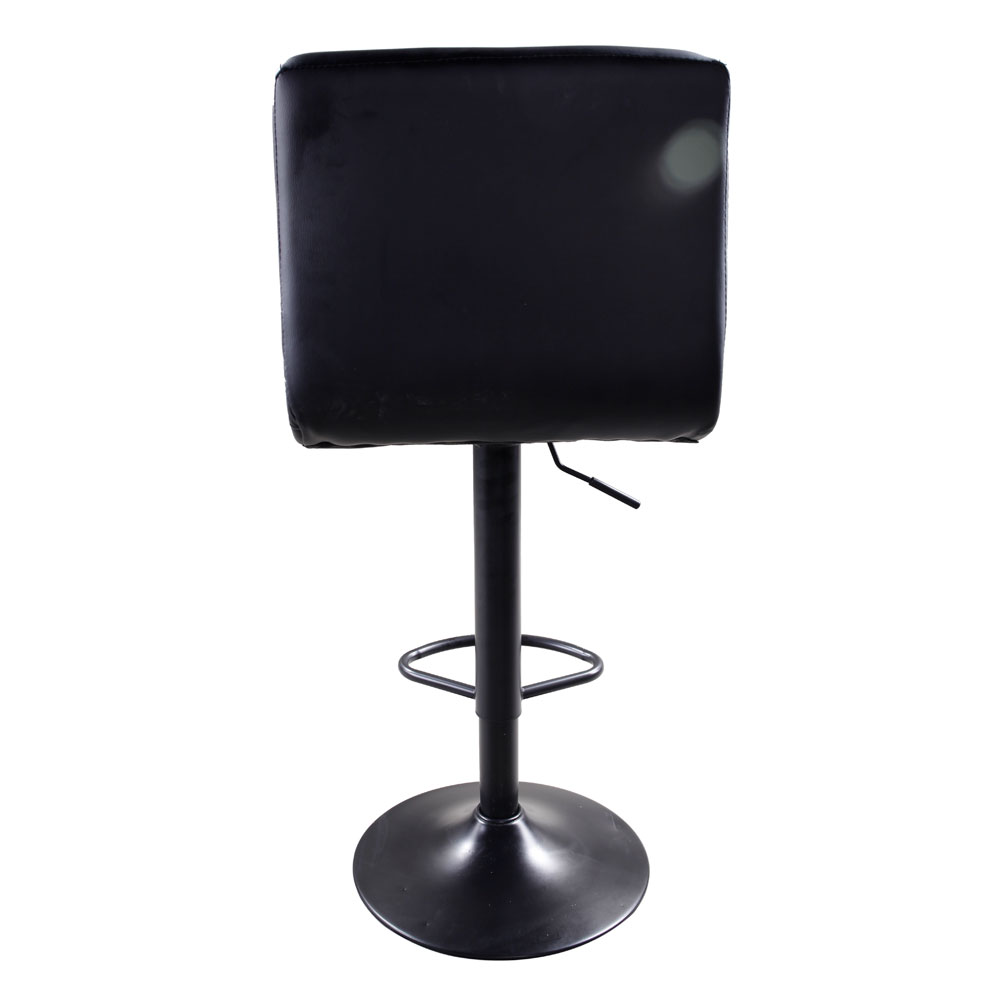 2xblack Pu Leather Modern Adjustable Swivel Barstools