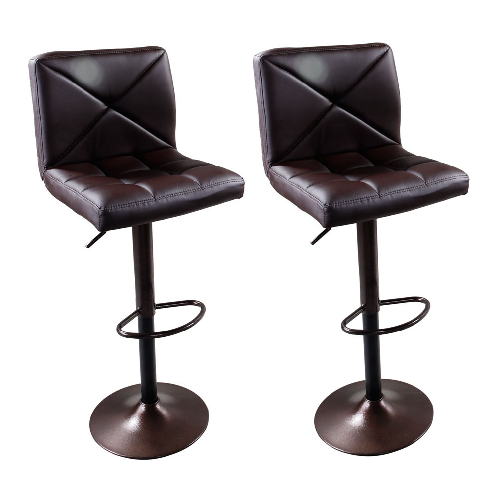 Set Of 2 Brown Pu Leather Modern Adjustable Swivel