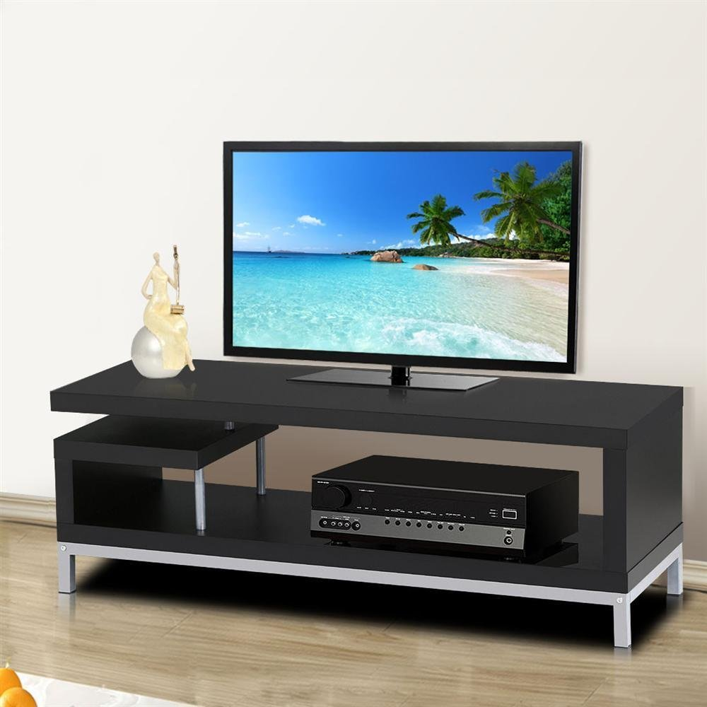 Black Wood TV Stand Console Table Home Entertainment Media Center Metal Leg  New