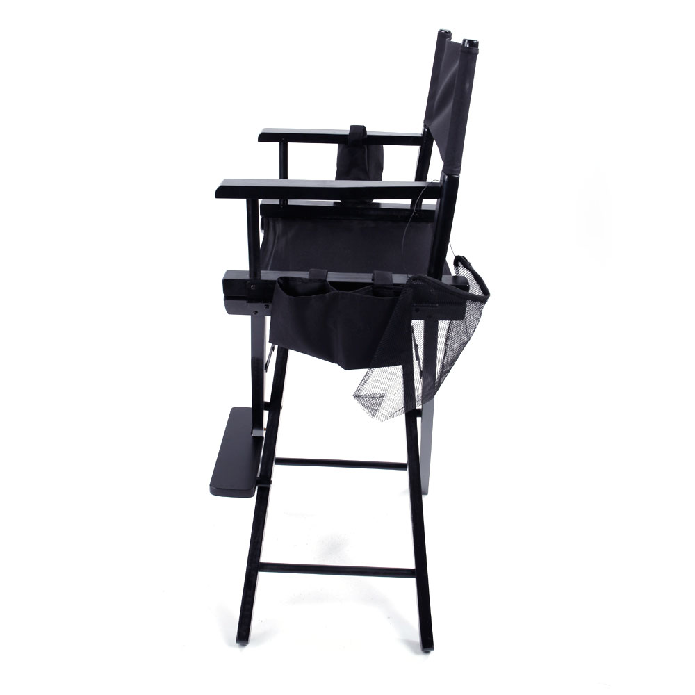 Directors Chair Canvas Tall Seat Black Wood Folding Hair