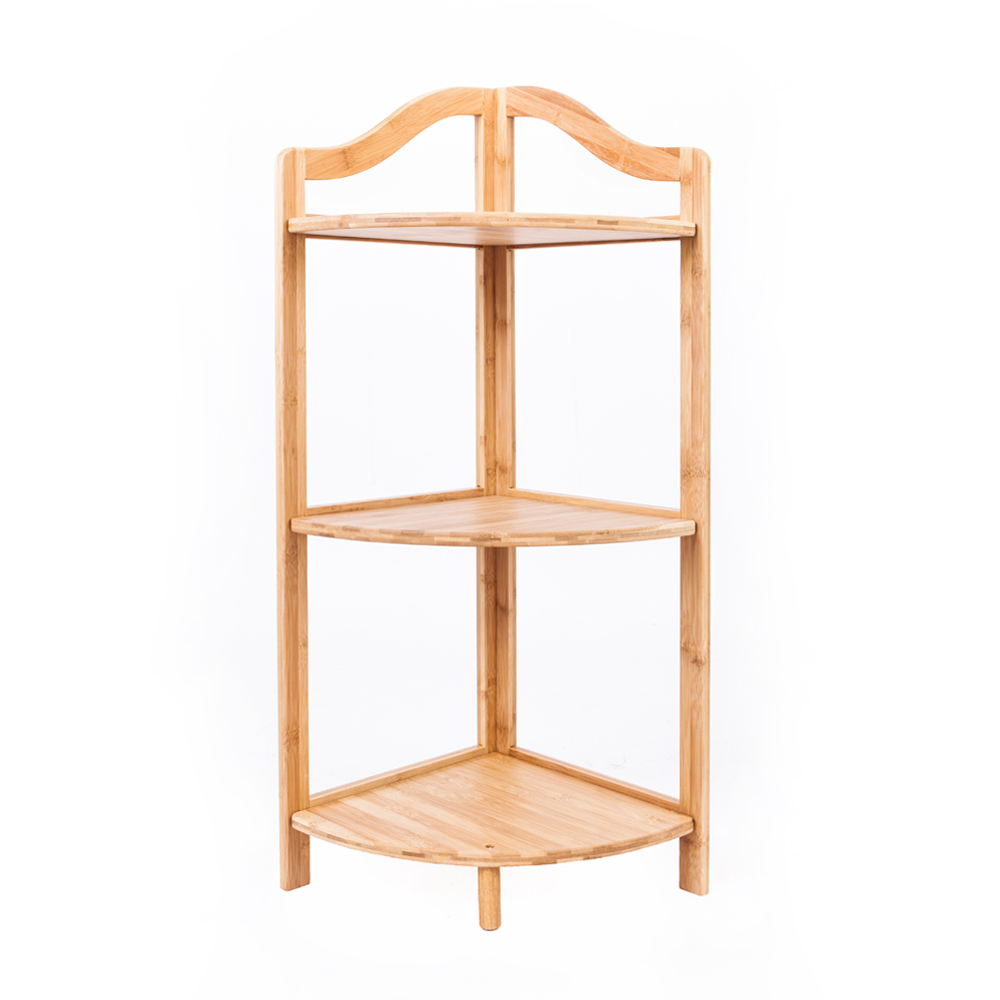 3 Tier Shelf Bamboo Corner Tower Rack Bathroom Storage Space Saver ...