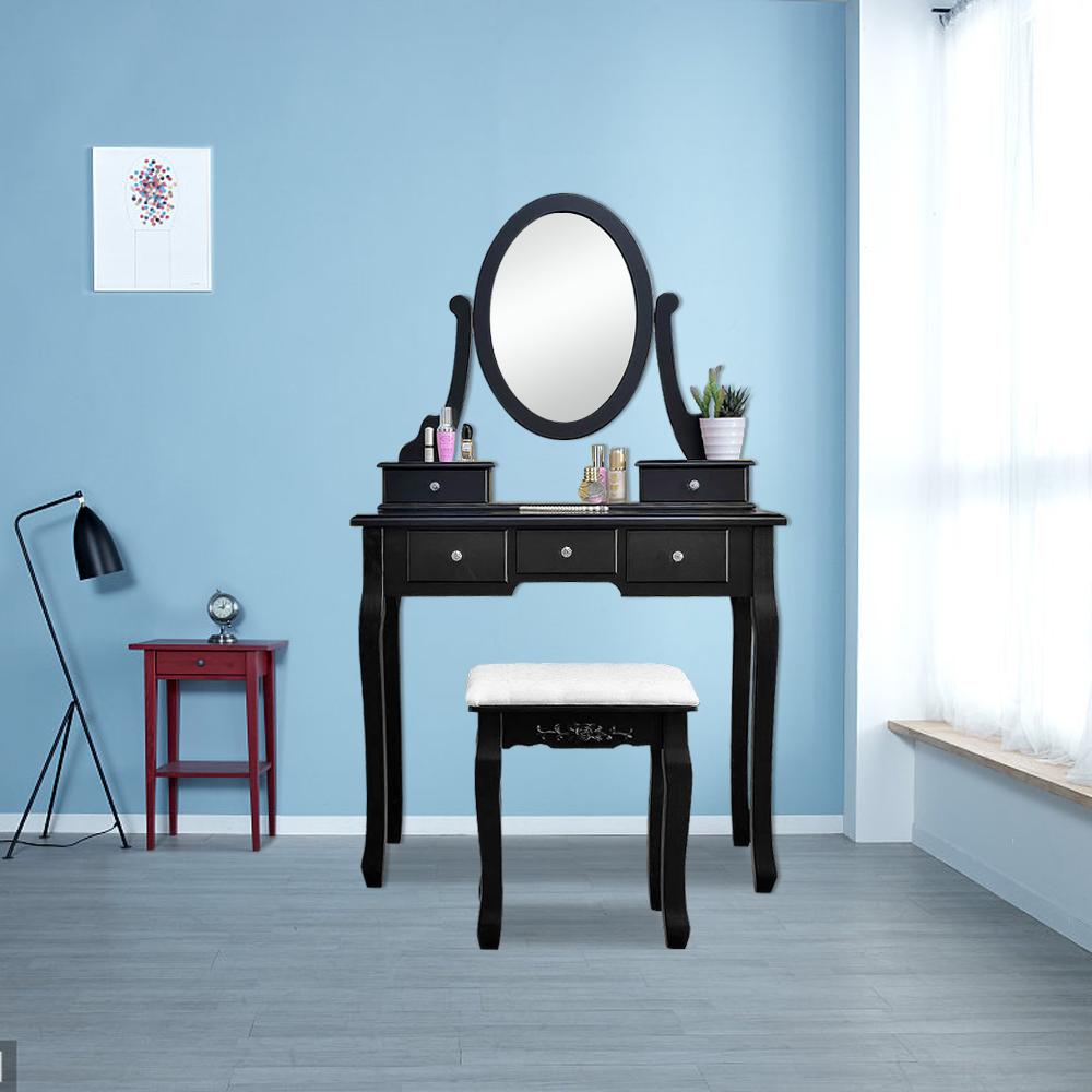 5 Drawer Vanity Makeup desk Dressing Table Set Bedroom Vanity Set ...