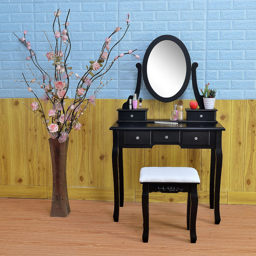 Black Vanity Dressing Table 5 Drawers Oval Mirror Bedroom Makeup Desk With  Stool