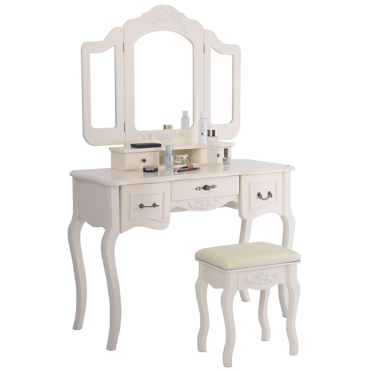 White Tri Folding Mirror Vanity Set 5 Drawers Dressing