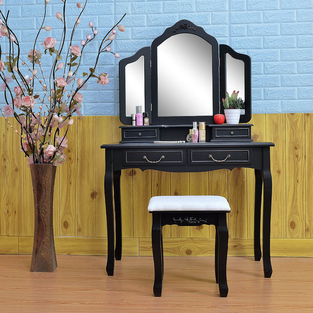 Black Tri Folding Mirror Vanity Set 4 Drawers Dressing Table Makeup Desk Amp Stool 210065421782 Ebay