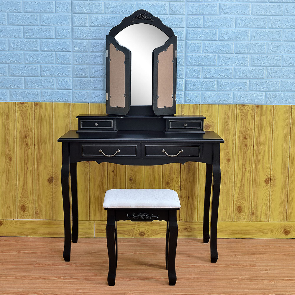 Black Tri Folding Mirror Vanity Set 4 Drawers Dressing