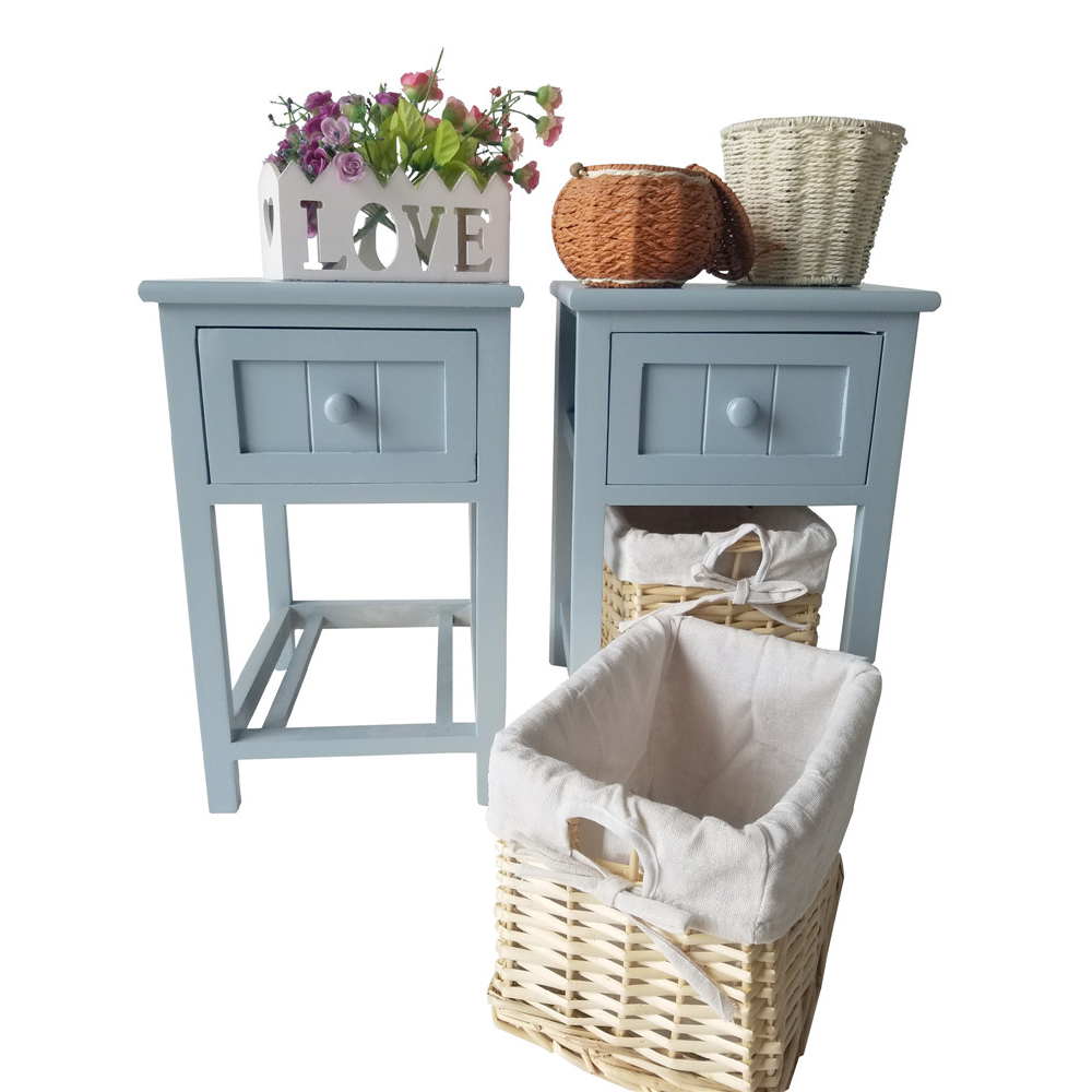 Set of 2 Chic Nightstand End Side Bedside Table w/Wicker Storage ...