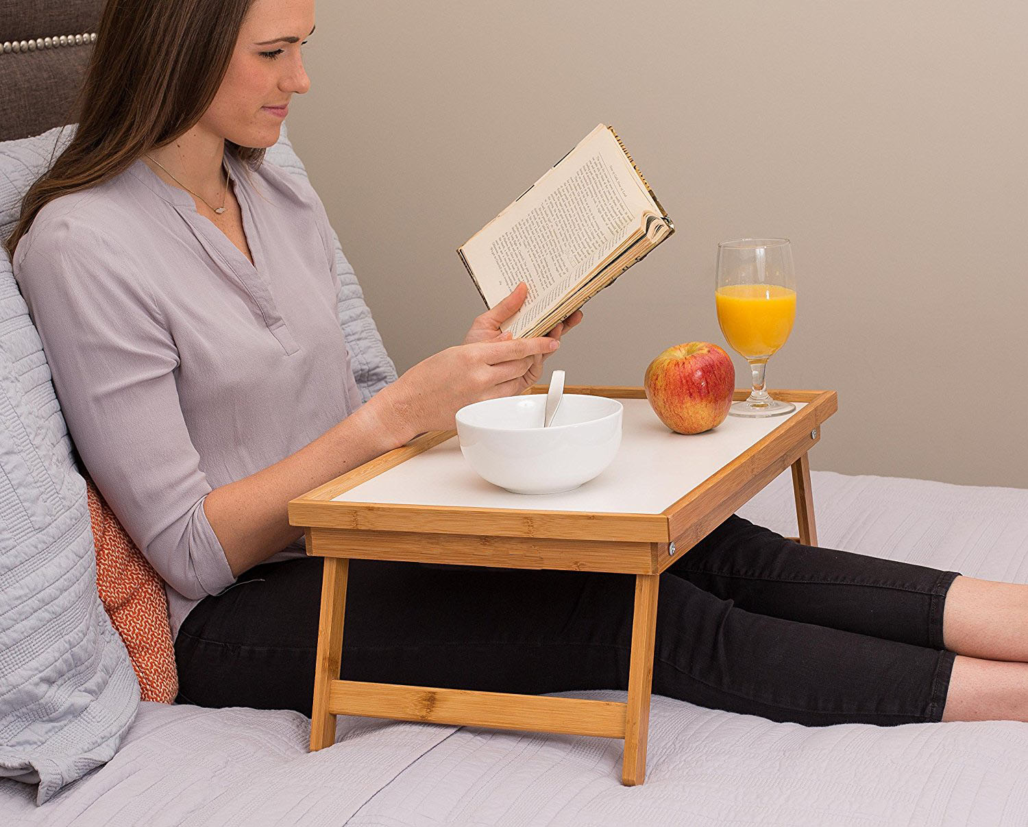 Adjustable Wood Bed Tray Lap Desk Serving Table Folding