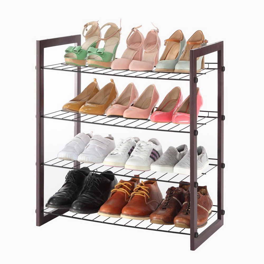4-Tier Metal Shoe Rack Wall Bench Shelf Closet Organizer Storage Stand Entryway  sc 1 st  eBay & 4-Tier Metal Shoe Rack Wall Bench Shelf Closet Organizer Storage ...