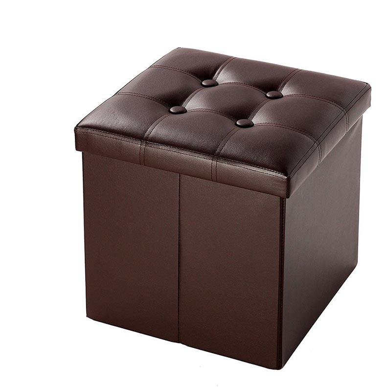 Modern Home Folding Ottoman Storage Box Seat Chest Faux Leather Foot Stool Brown  sc 1 st  eBay & Modern Home Folding Ottoman Storage Box Seat Chest Faux Leather ... islam-shia.org