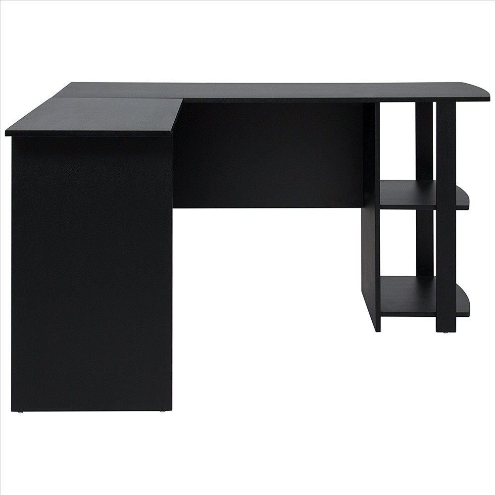 FCH L-Shaped Corner Computer Desk Home Office Desk Furniture Black ...
