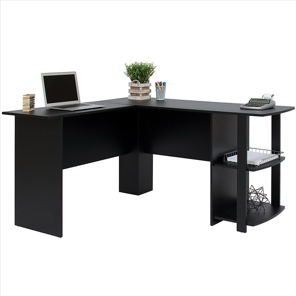 Best Choice Products L Shaped Corner Computer Home Office Desk Furniture   Black