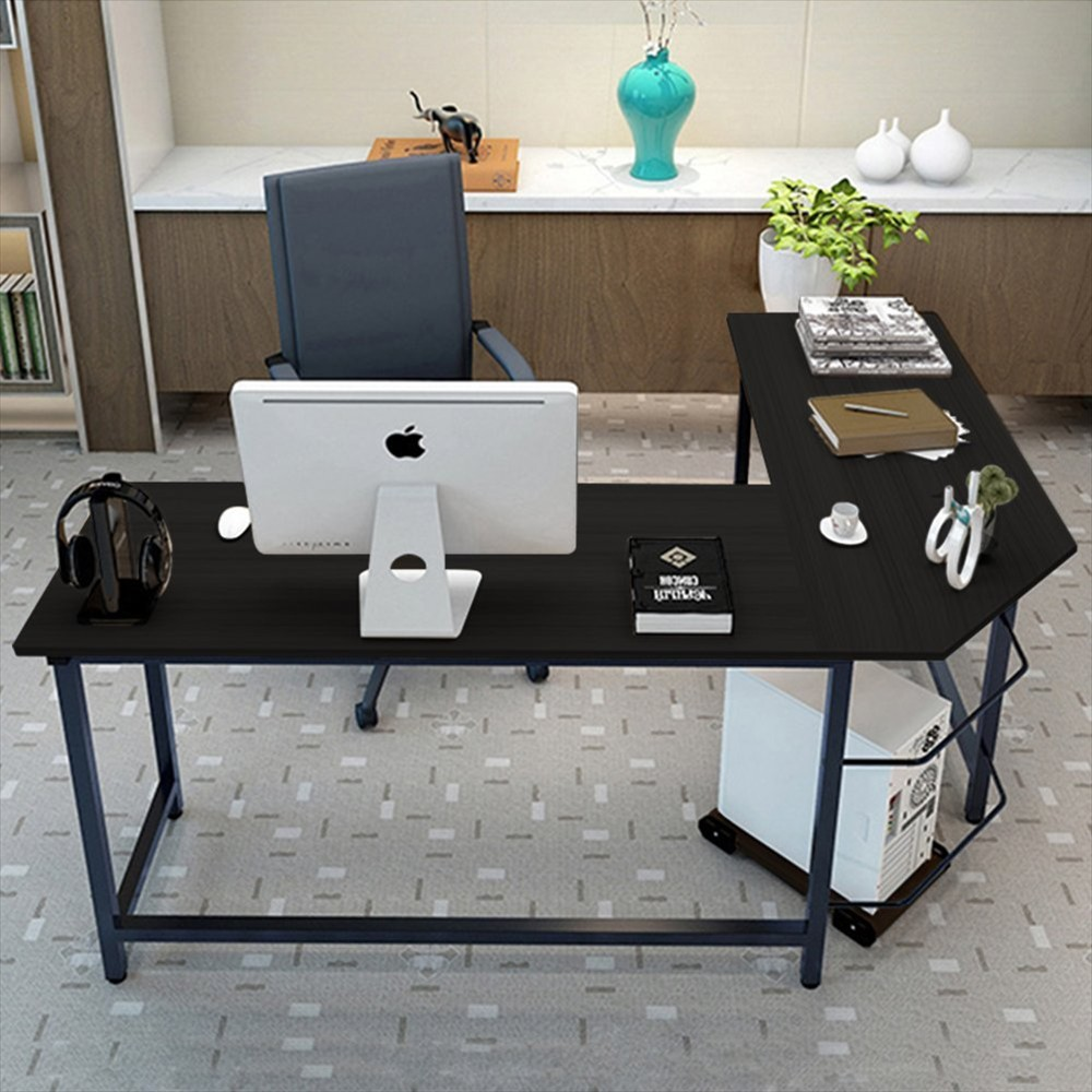 shaped tray products image homcom office ca computer keyboard l aosom desks desk with workstation