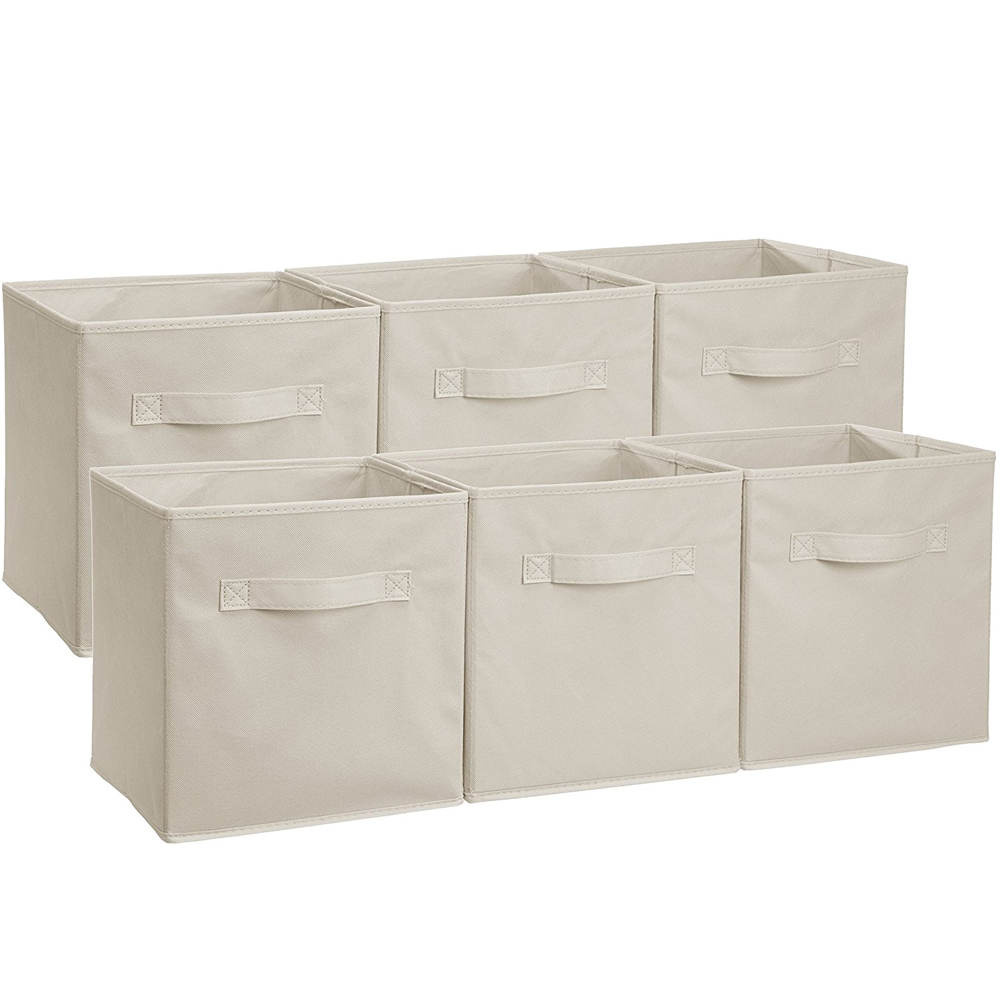 6Pcs Foldable Cube Storage Folding Boxes Clothes Organizer Fabric Beige  sc 1 st  eBay & 6Pcs Foldable Cube Storage Folding Boxes Clothes Organizer Fabric ...