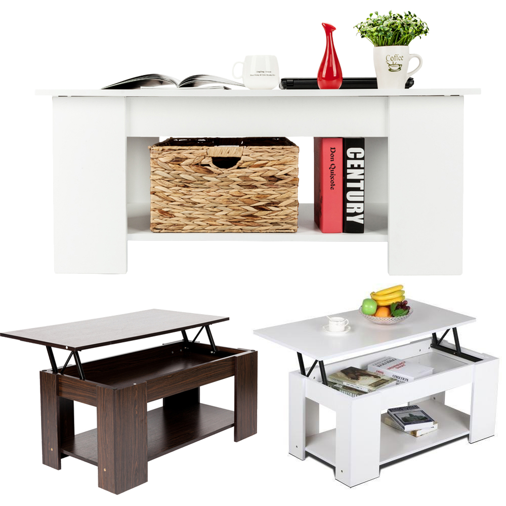 Lift top w hidden compartment and storage coffee table modern home furniture