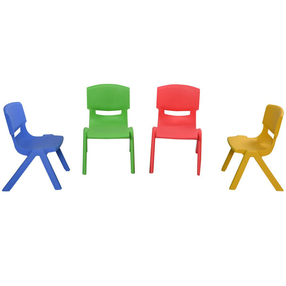 Set Of 4 Kids Plastic Chairs Stackable Play And Learn Furniture Colorful New