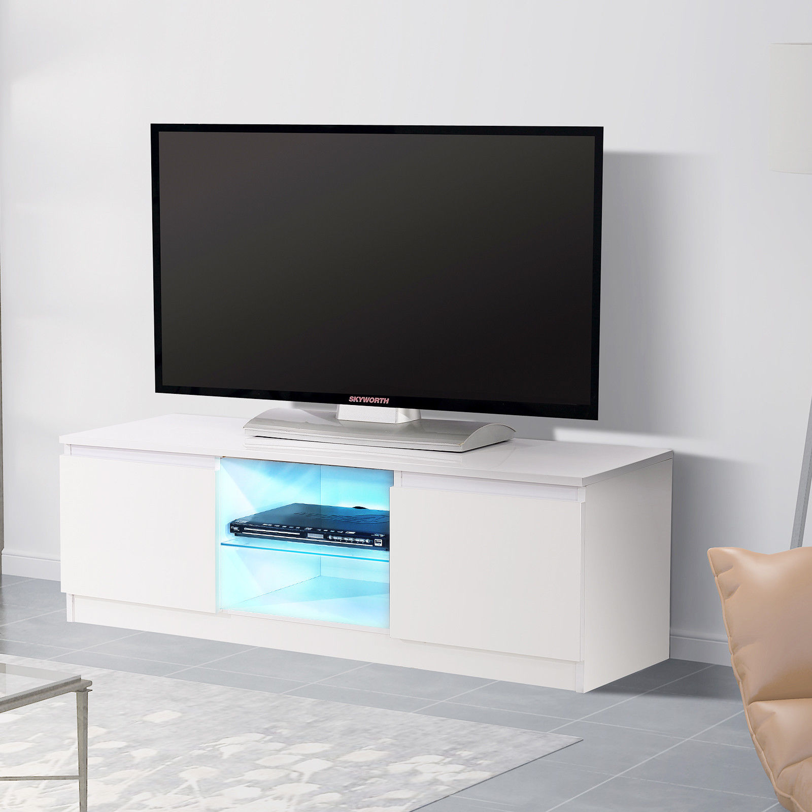 Beau Details About White High Gloss TV Stand Unit Cabinet W/ LED Light Shelves 2  Drawers Furniture