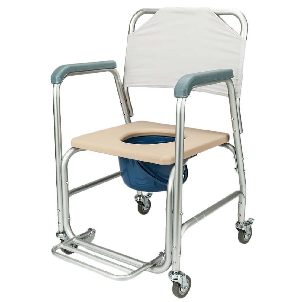 Transport Shower Bedside Commode Wheelchair Bathroom Rolling Toilet ...