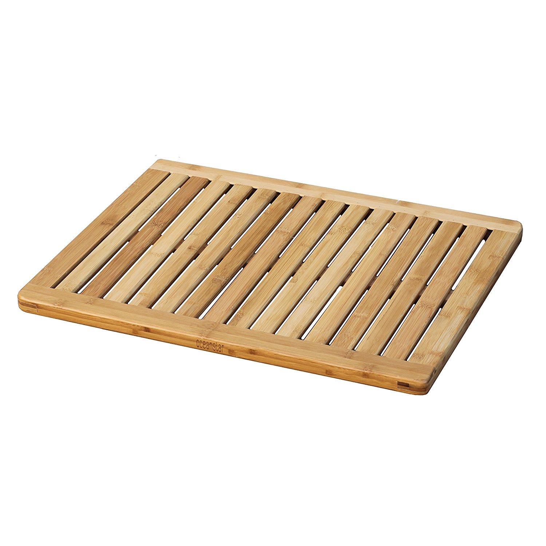 New Bamboo Shower Mat 100% Natural Bamboo Bath Mat Non Slip Shower ...