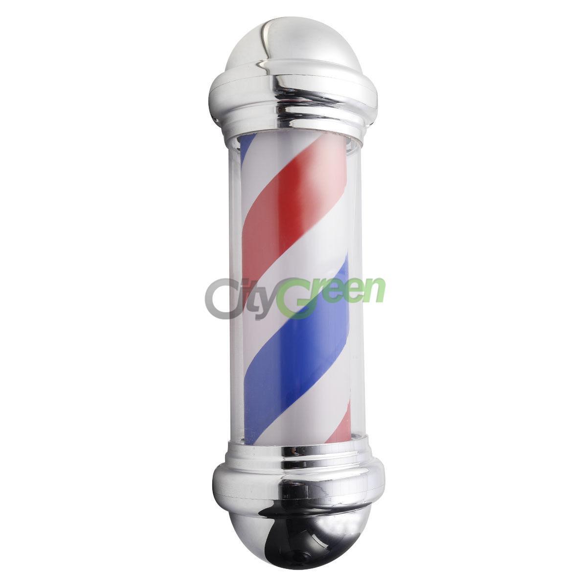 """28"""" LED Barber Pole Light Red White Blue Stripes Rotating"""