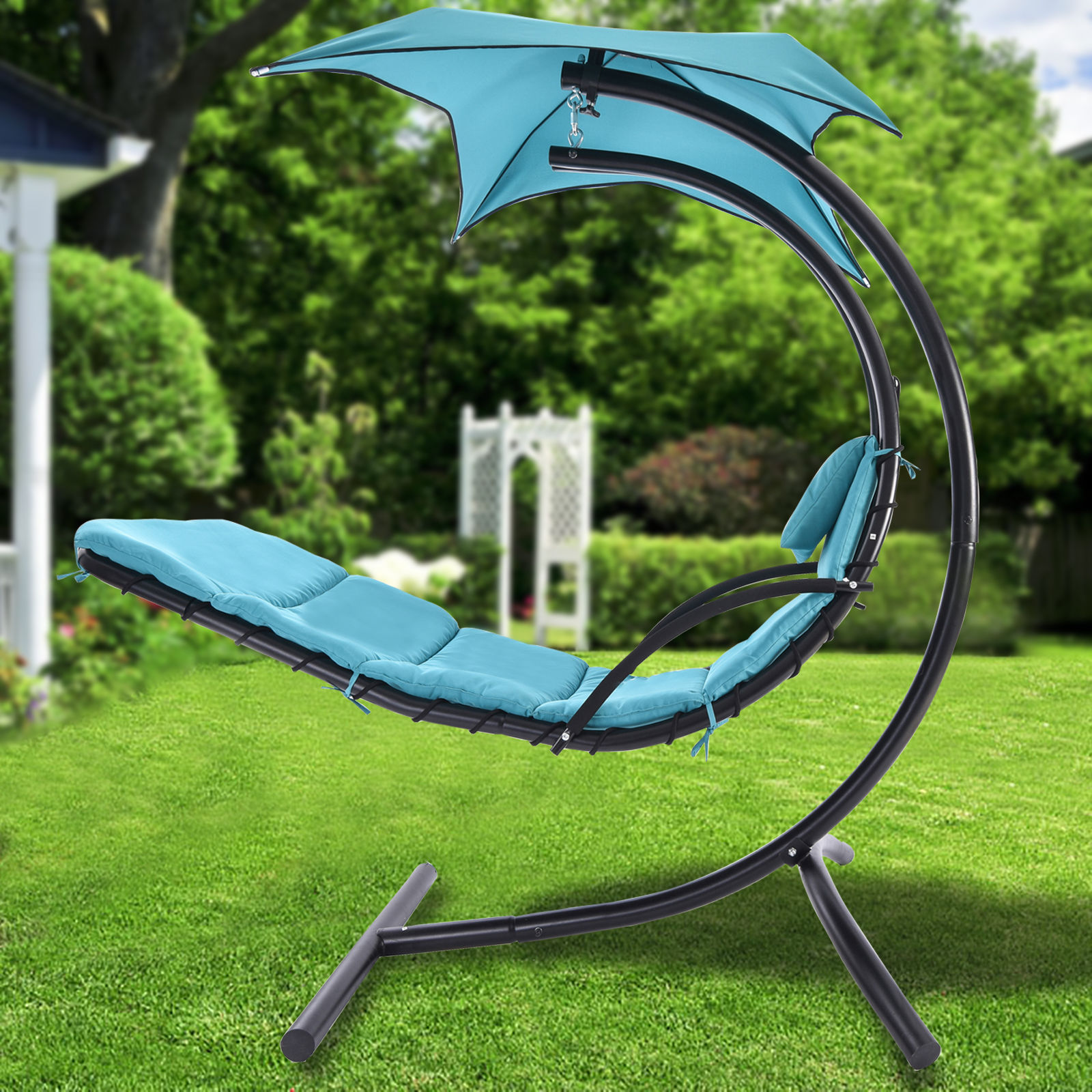 new hanging chaise lounger chair arc stand air porch swing hammock chair canopy. Black Bedroom Furniture Sets. Home Design Ideas