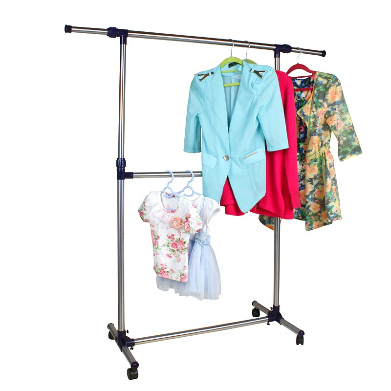 rolling clothes rack single rail hanging garment bar heavy hanger portable ebay. Black Bedroom Furniture Sets. Home Design Ideas